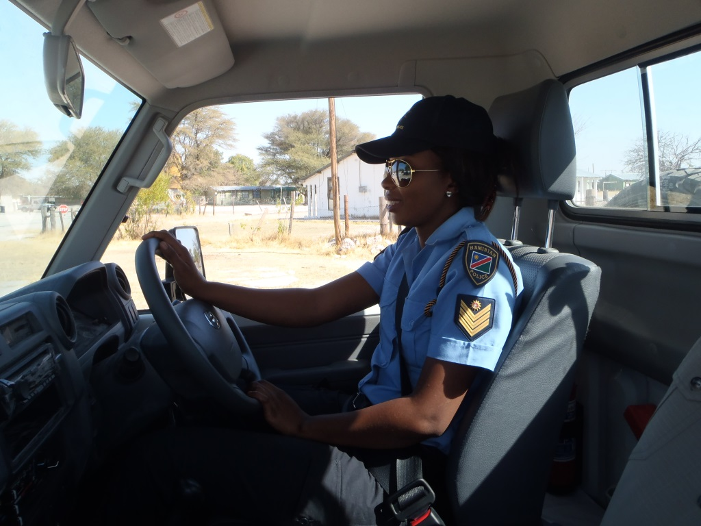 Driving text for female police officer in Namibia. Photo: UN/ Mr Samwel Mshana.