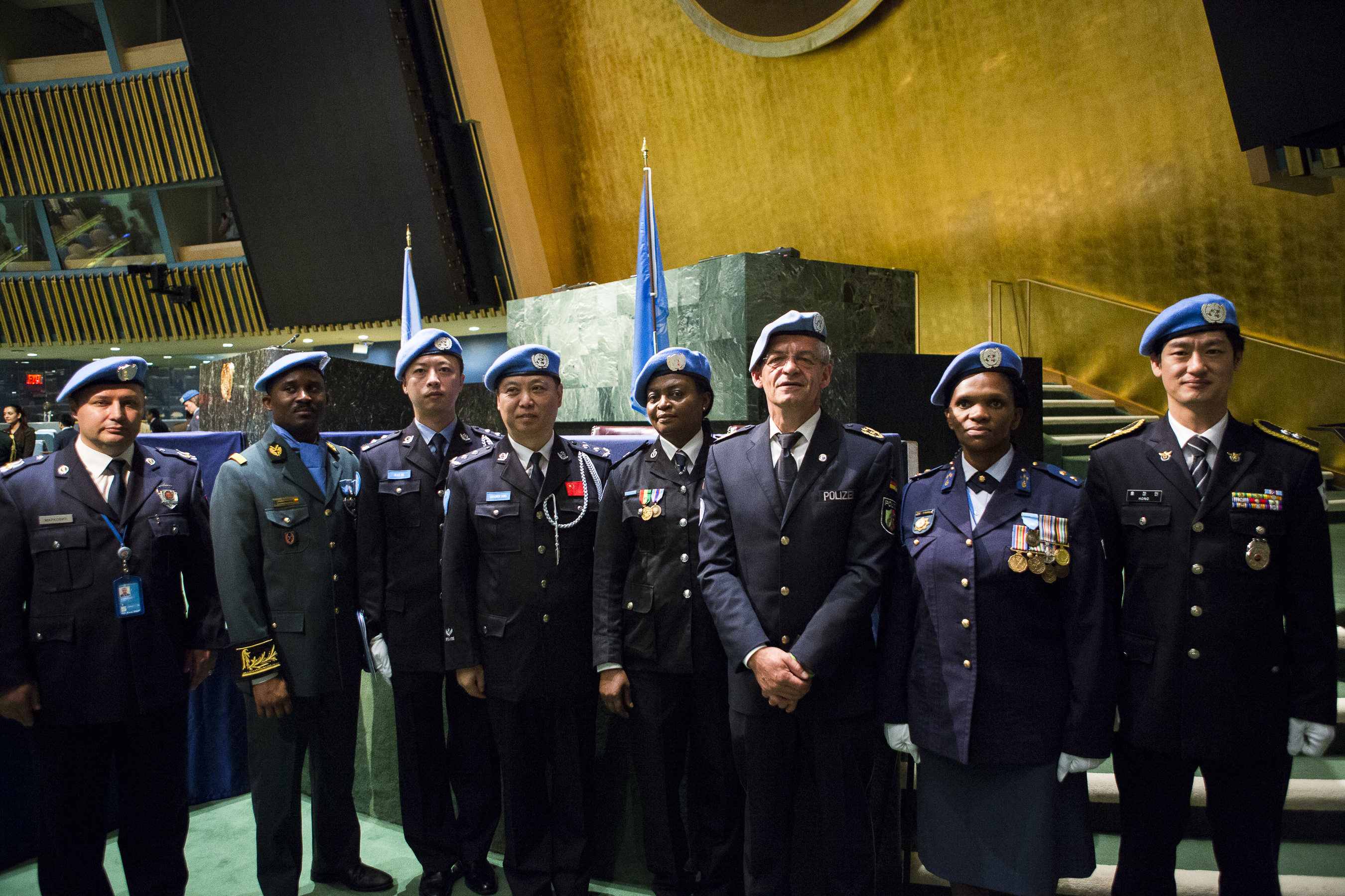 UN police officers at the margin of the United Nations headquarters medal parade in May 2016. UN Photo/Manuel Elias
