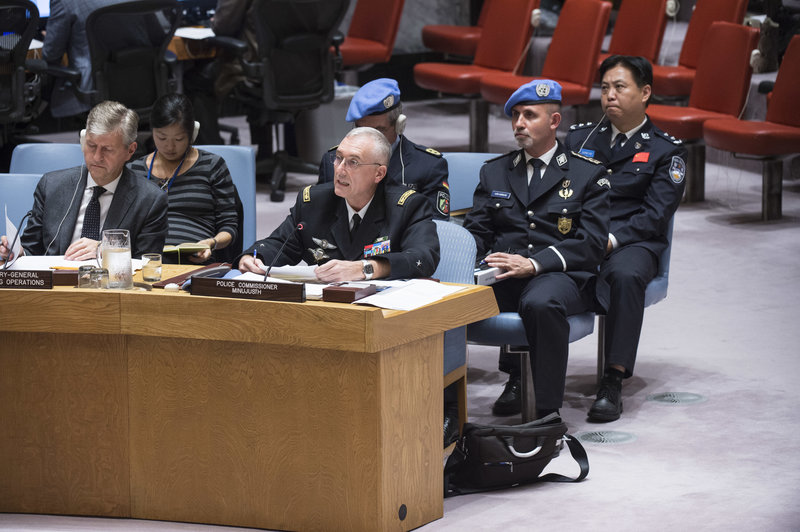 Police Commissioner Monchotte of MINUJUSTH briefs the Security Council on 6 Nov 2017. Jean-Pierre Lacroix, USG for Peacekeeping Operations, sits to his right with the UN Police and Deputy Police Adviser behind. UN Photo/Kim Haughton