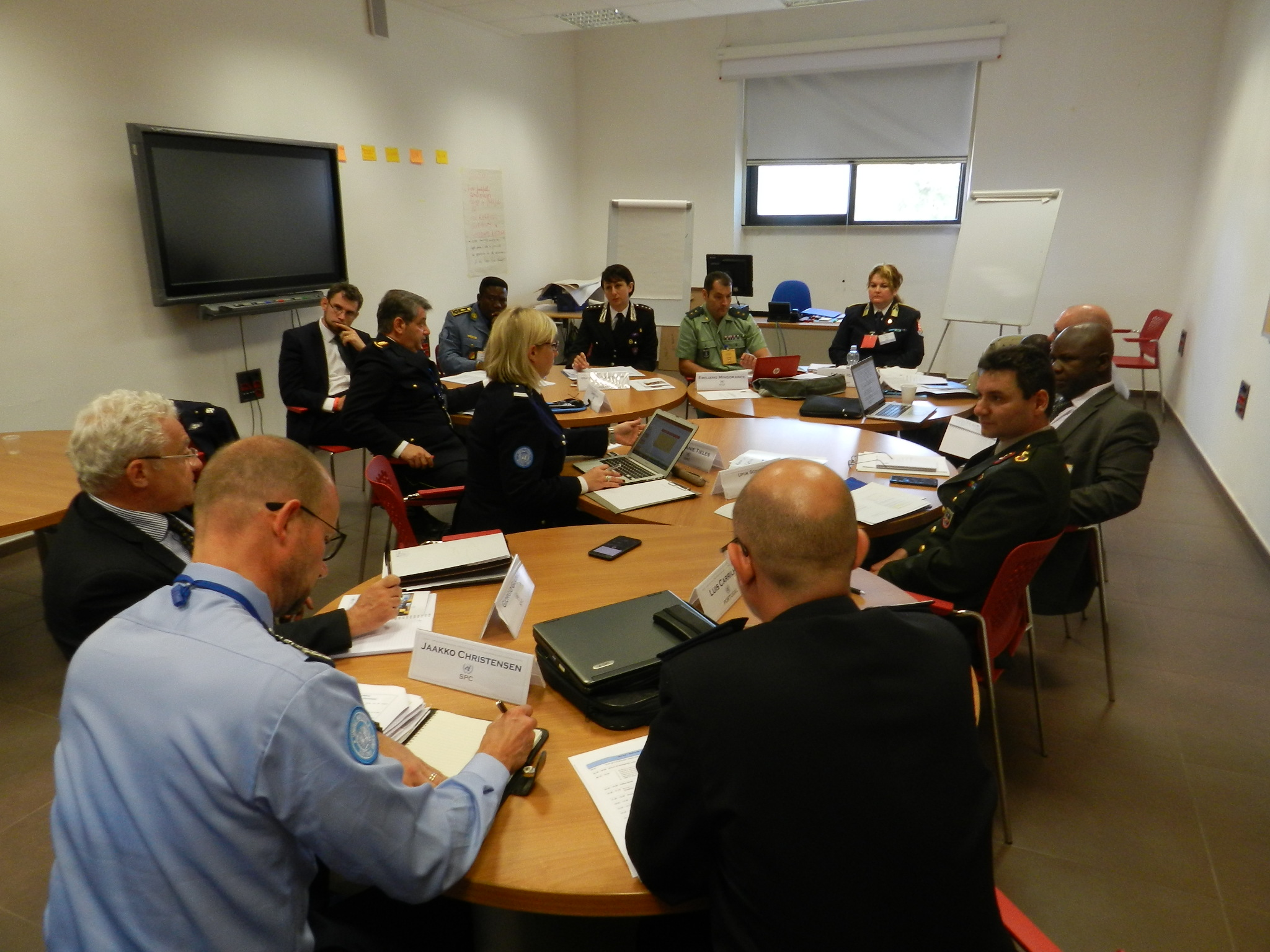 Group work of participants to develop the UN Police Commanders course. May 2017 at the Standing Police Capacity base in Brindisi, Italy. UN photo