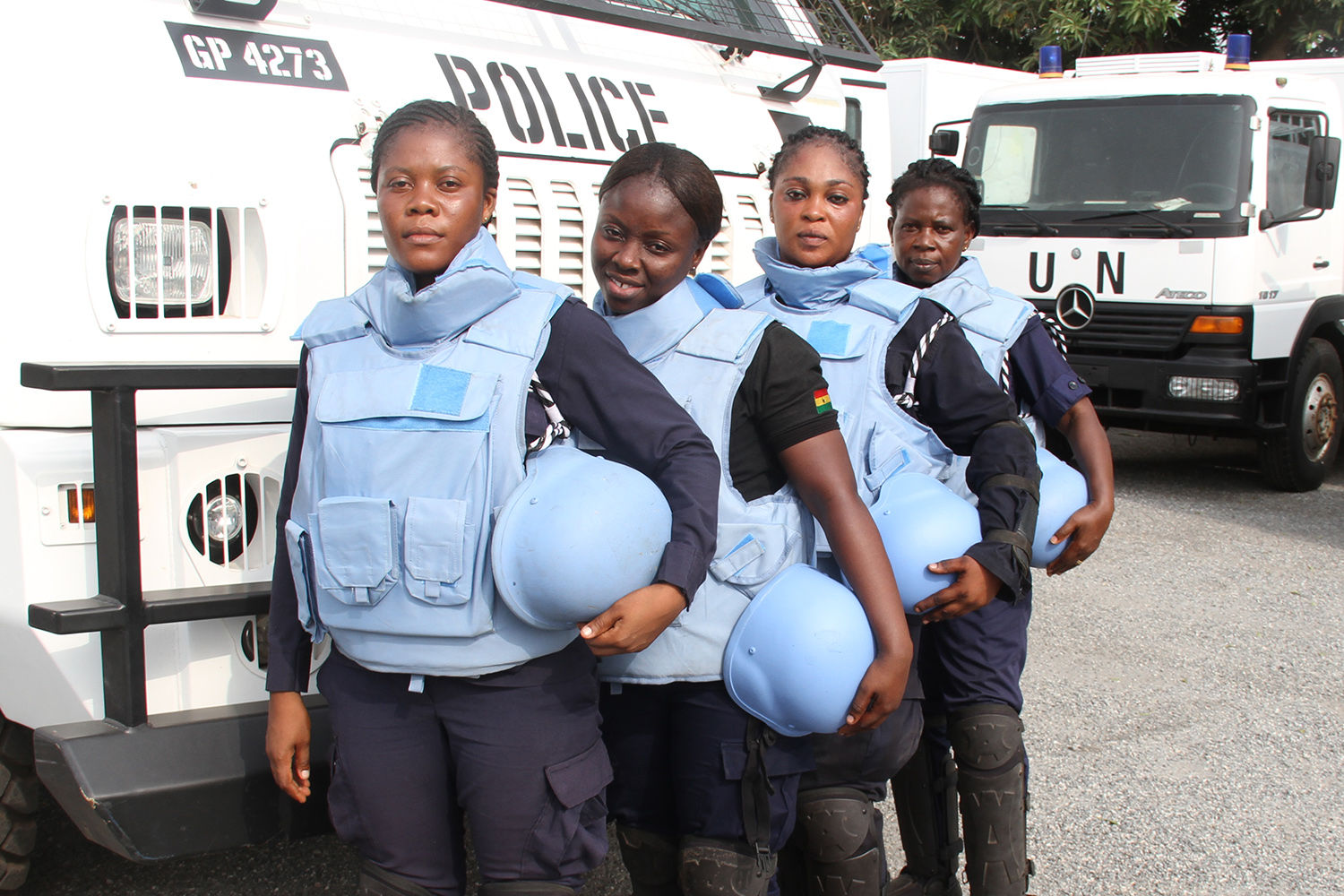 Female formed police unit personnel during a pre-deployment visit in Ghana in February 2017.