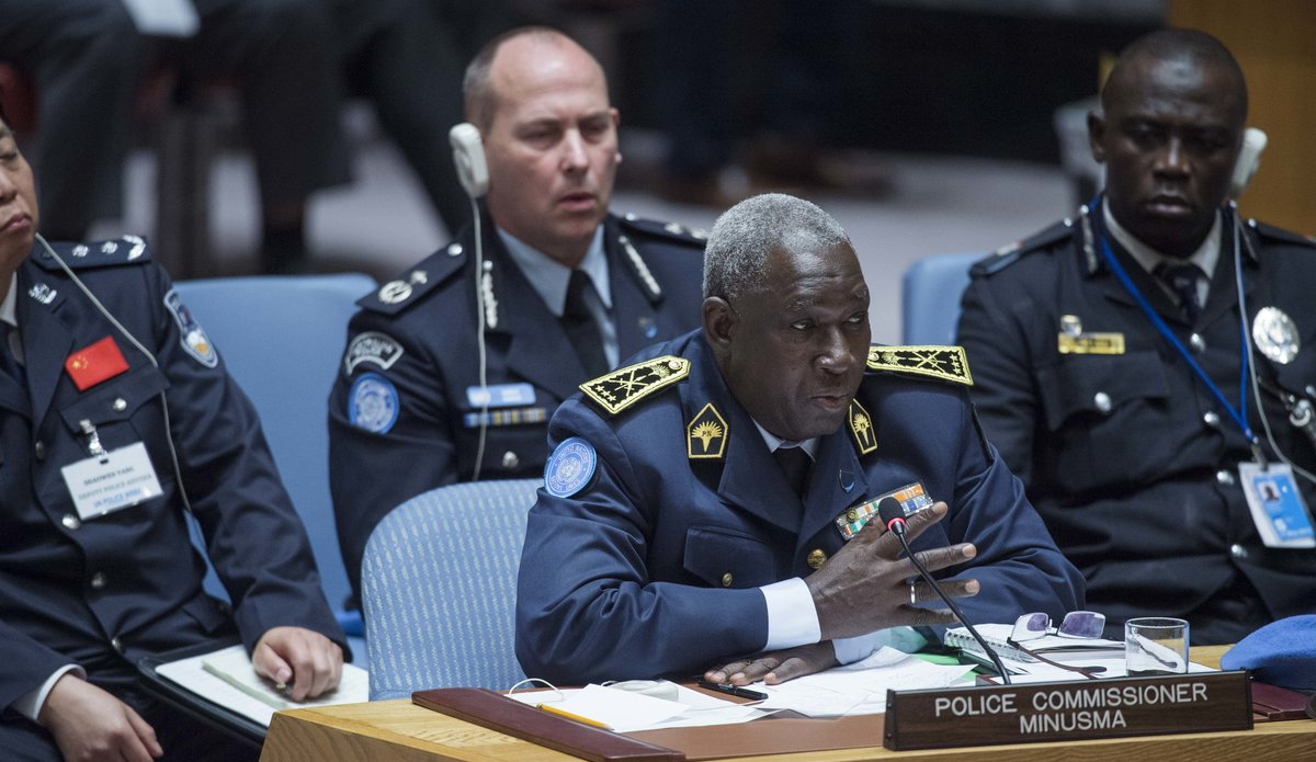 The Police Commissioner of MINUSMA, Issoufou Yacouba, briefs the Security Council during the Council's annual dialogue on the role of police in UN peacekeeping operations. UN Photo/Amanda Voisard