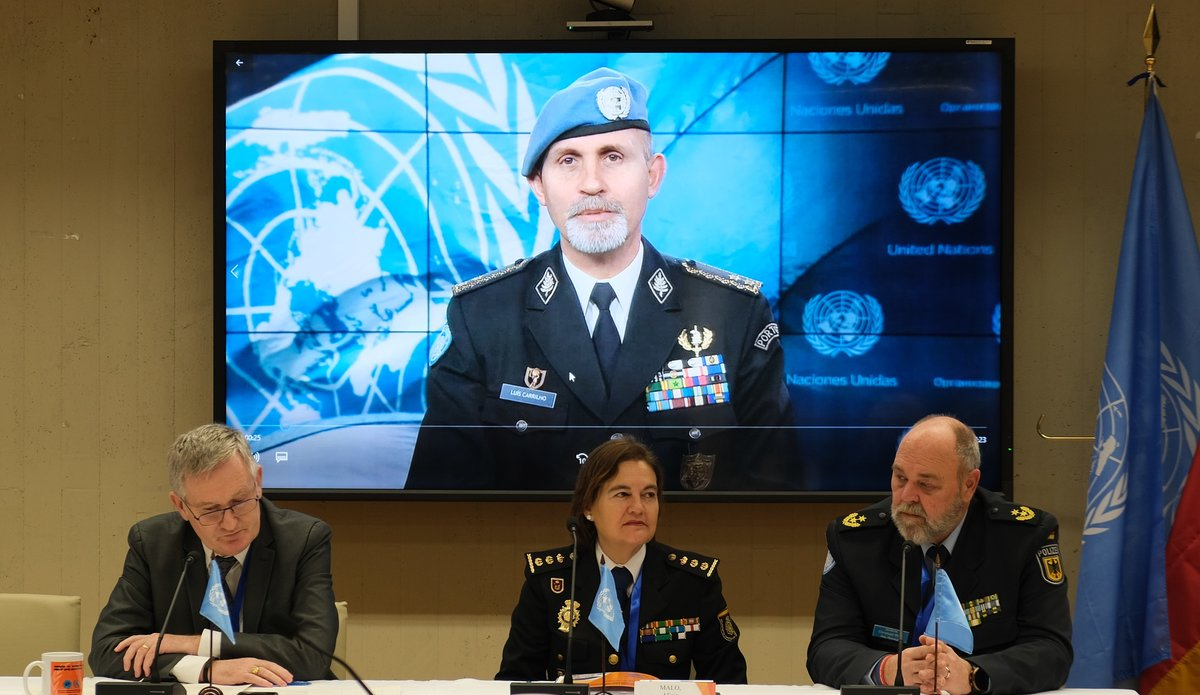 From left to right: Director operations Support Division (OICT) Anthony O'Mullane, Deputy Chief International Cooperation Division of the Spanish National Police Ms. Maria Alicia Malo Sánchez, and Chief SPC Christoph Buik. Police Adviser Luis Carrilho on the screen.