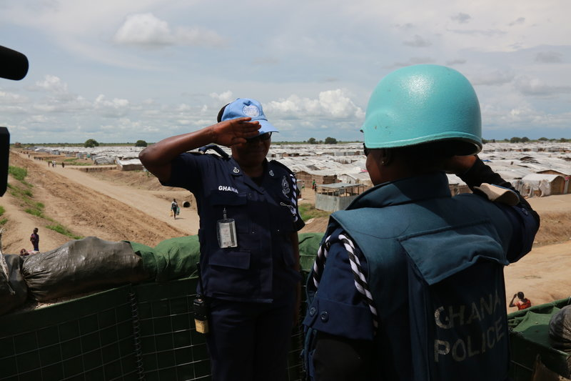 Assistant Superintendent of Police, Sylivia Adzo Sowlitse, salutes one of the officers under her command. Photo: UNMISS