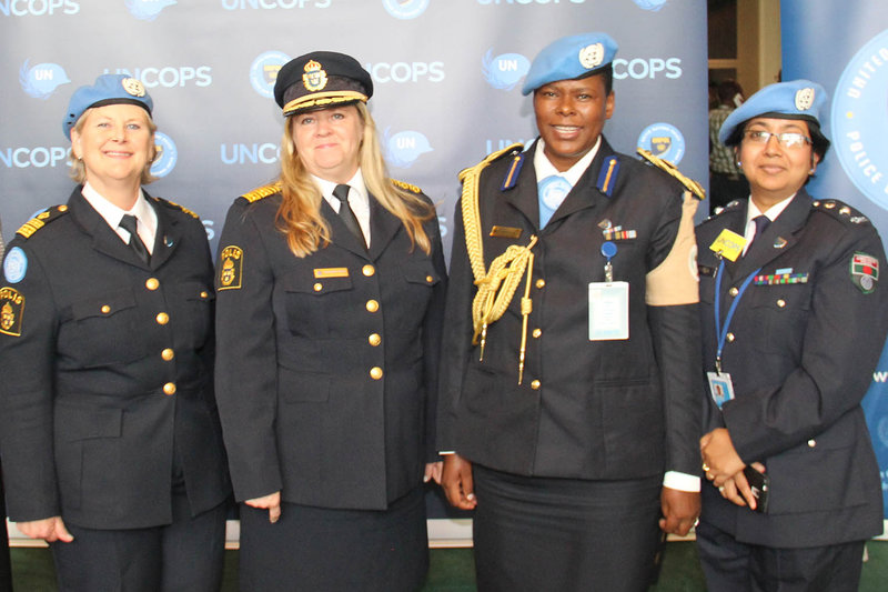 Senior police women during the UN Chiefs of Police Summit, Chief of the Standing Police Capacity, Maria Appelblom, former UN Police Adviser, Ann-Marie Orler, Police Commissioner of UNAMID, Priscilla Makotose and Planning Officer Taptun Nasreen. Photo: UN/ Juergenliemk