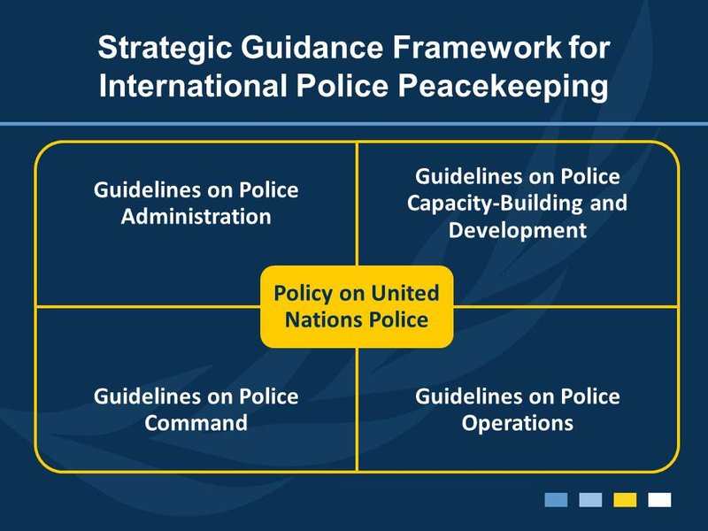 The Strategic Guidance Framework for International Police Peacekeeping consists of one policy documents, guidelines and accompanying manuals.