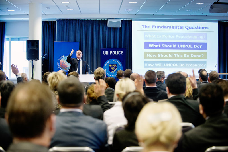 The Chief of the Strategic Policy and Development Section in the Police Division, Andrew Carpenter, speaks about the rationale for the Strategic Guidance Framework at a Challenges Forum workshop in Norway in 2014. Photo: Challenges Forum